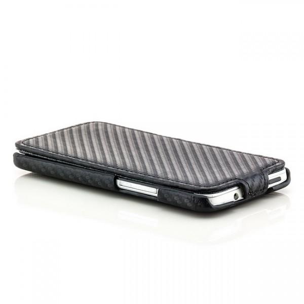 Carbon-Look Flip Case für HTC One M7 Schwarz