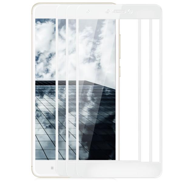 3x Full Cover Displayschutzglas für Xiaomi Redmi Note 4 / 4X - Weiß