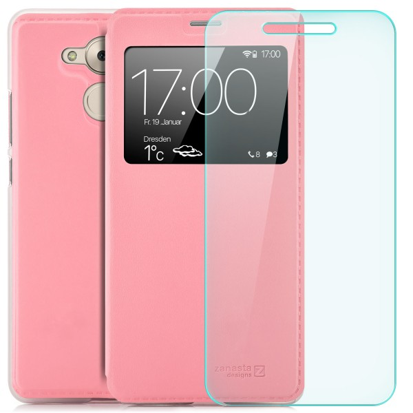 Kunstleder View Case für Huawei Honor 6C / Enjoy 6S - Rosa + GLAS