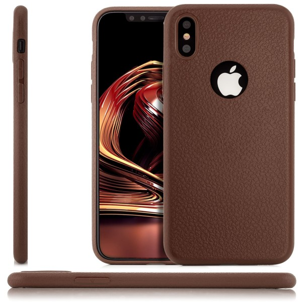 Silikon Leder Back Cover für Apple iPhone X - Braun