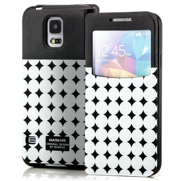 Baseus Flip Tasche für Samsung Galaxy S5 Schwarz-Weiß