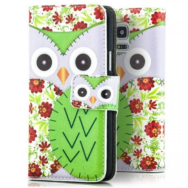 Eule Handytasche für Samsung Galaxy S5 Mini Lila-Grün