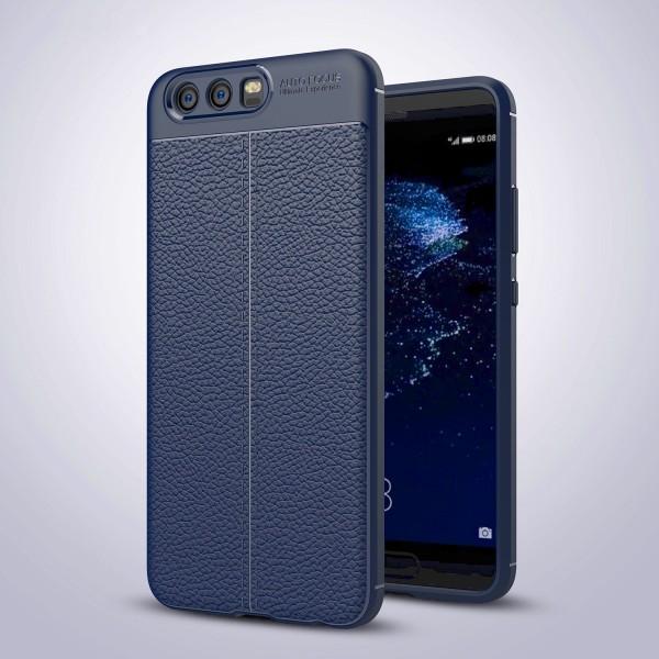 Litchi Soft Back Cover für Huawei P10 - Blau
