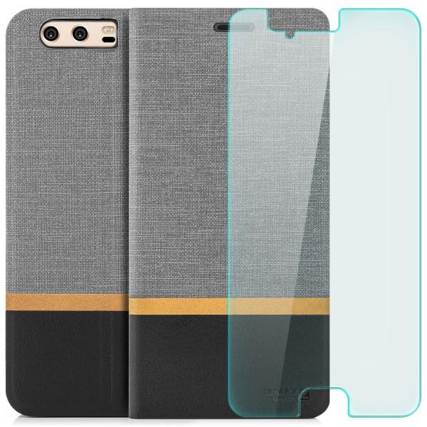 Kunstleder Streifen Tasche für Huawei P10 Plus - Grau + GLAS