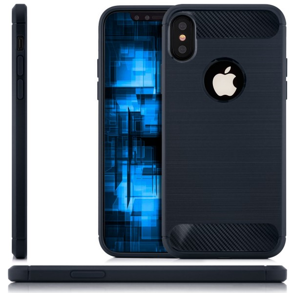Silikon Brushed Back Cover für Apple iPhone X - Dunkelblau