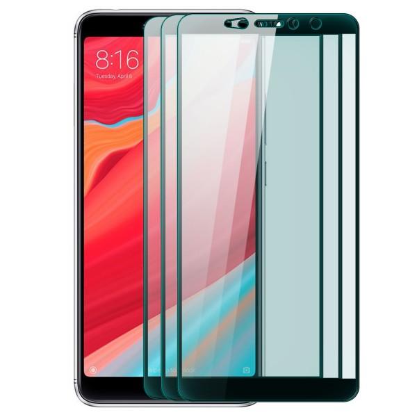 3x Full Cover Displayschutzglas für Xiaomi Redmi S2 - Schwarz