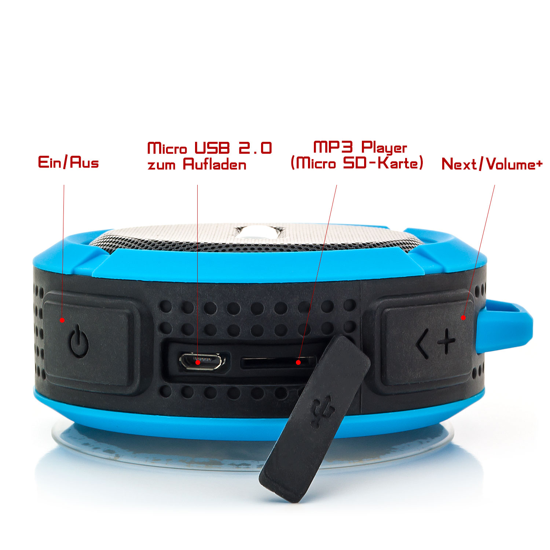 5w bluetooth outdoor lautsprecher boxen bad saugnapf f r. Black Bedroom Furniture Sets. Home Design Ideas